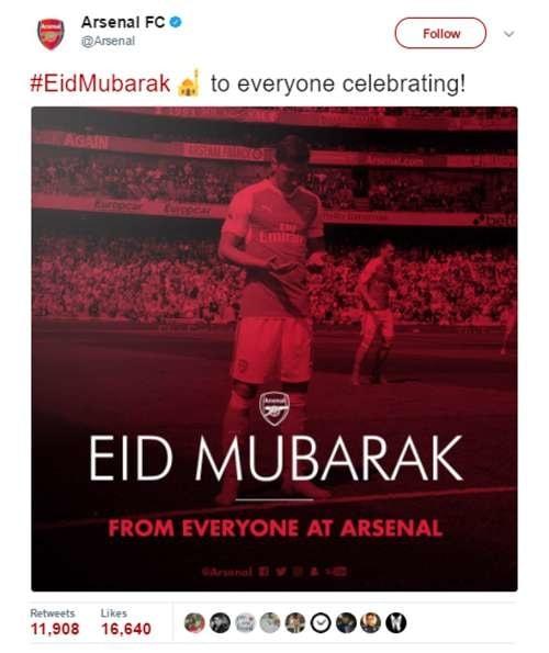 Kali ini ada klub raksasa asal London, Arsenal. Ya, si Meriam London ini memang terdapat pemain muslim yang merumput disana. Dan tim ini mengucapkan selamat lebaran melalui akun twitternya.