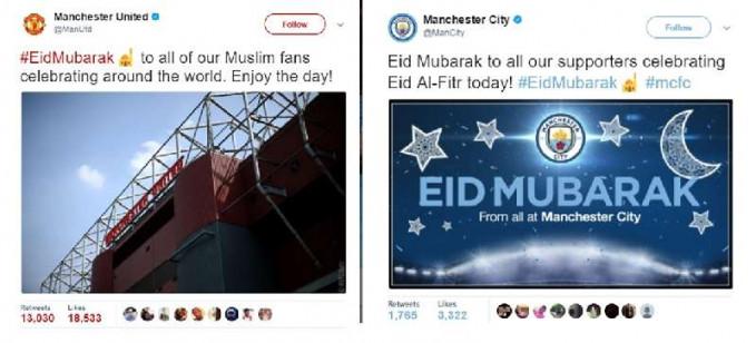 Duo Manchester ini kompak banget dalam ngucapin lebaran pulsker. Mereka boleh saja rival, tapi pas lebaran mereka bersatu nih.