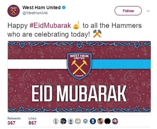 Terakhir, ada klub West Ham pulsker. Tim yang supporternya dijuluki The Hammers ini juga bersuka cita dalam menyambut Idul Fitri. Itu dia pulsker, ucapan selamat lebaran dari para pemain sepakbola dan tim elit Eropa. Ada nggak salah satu tim atau pemain favoritmu?.
