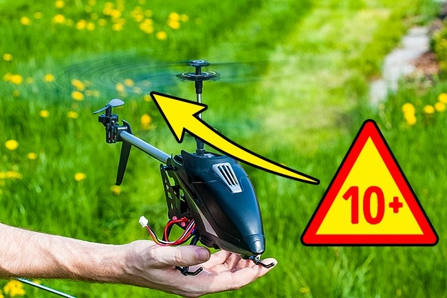 Mainan baling-baling Helikopter dan mainan lainnya dengan baling-baling memang dimaksudkan untuk remaja karena bisa berbahay bagi anak kecil bila menyentuhnya.