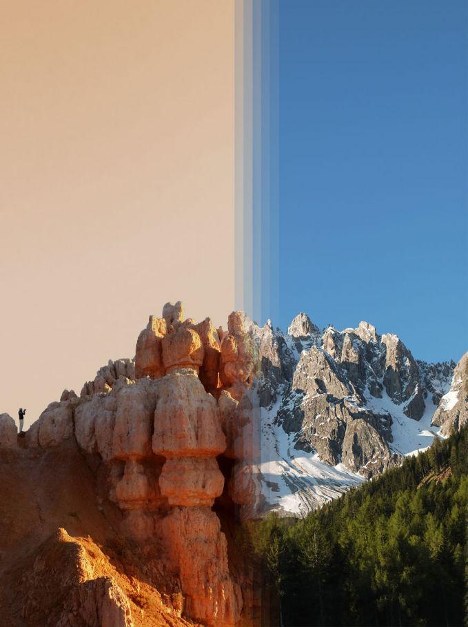 Dua buah batuan tebing ini sangat bertolak belakang banget pulsker, antara panas dan dingin. Gabungan dari Bryce Canyon di Amerika Serikat dan Dolomites di Italia.