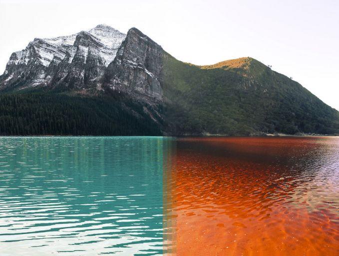 Nah, yang ini baru keren dan pasti bikin kalian terkecoh karena warna airnya. Sebenarnya ini adalah penggabungan foto Taman Nasional Banff di kanada dan Taman Nasional Tsitsikama di Afrika Selatan.