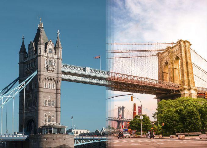 Jembatan ini usianya sama tuanya pulsker, tapi mereka berada di tempat yang berbeda. Sisi kiri adalah Jembatan London sedangkan di sisi kanan adalah Jembatan Brooklyn di New York.