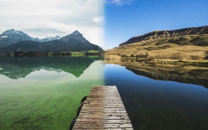 Kalau yang ini adalah foto danau di pegunungan Alpen, Austria yang digabungkan dengan danau Draknsberg di Afrika Selatan.