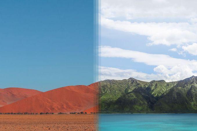 Yang satunya tandus, satunya terlihat hijau segar. Inilah perbandingan foto gurun Sossusvlei, Namibia dengan hijaunya pemandangan alam di Otago, Selandia Baru.