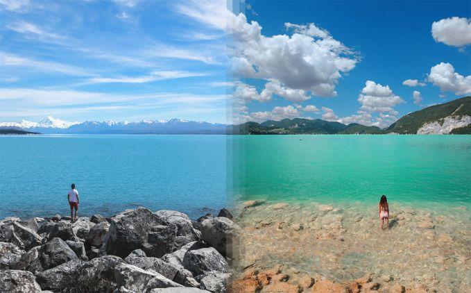 Serupa tapi tak sama, itulah gambaran yang pas buat keindahan Danau Takepo, Selandia Baru dan Danau Wolfgang di Austria.