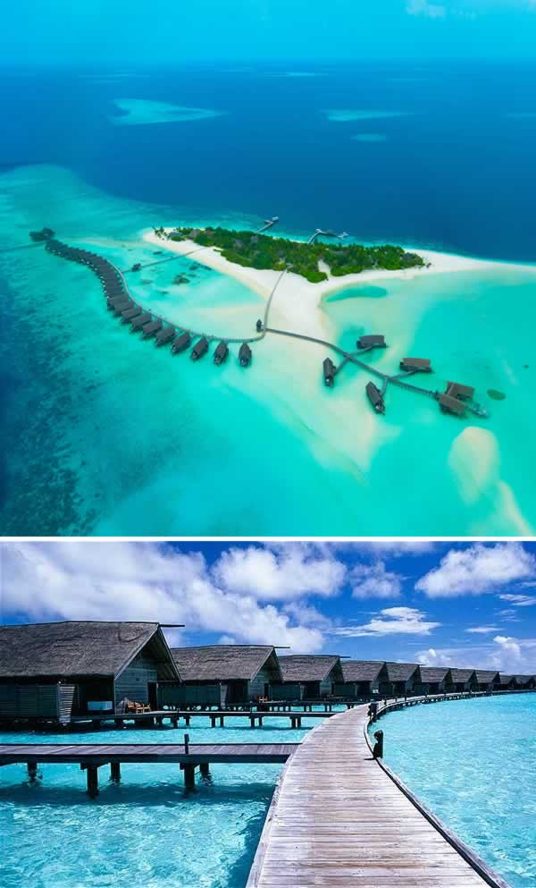 Maldives emang pulau kecil, tapi keindahan bawah lautnya bak surga dunia pulsker. Tepatnya di Cocoa Island ada hotel mewah yang bersih dan nyaman banget. Birunya laut dan sejuknya angin semilir bikin suasana makin berasa romantis. Selain itu kalian juga bisa berkeliling sekitaran hotel dengan perahu nelayan setempat..