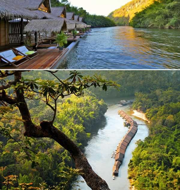 Di Thailand ada sebuah resort yang berkonsep natural. Terbuat dari bambu, resort 18 vila ini berada di atas sunga Kwai, Khwae Noi, Thailand. Oh iya, di kawasan sekitar resort kalian bisa menikmati keindahan alam desa setempat, menaiki gajah atau sekedar bermain kano.