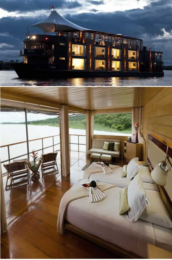 Sebenarnya sih hotel ini lebih mirip kapal pesiar pulsker. Dengan panjang 45 meter, Aria Amazon ini siap memanjakan pengunjung sembari menyusuri sungai Amazon di Peru. Kapal ini cuma bisa memuat 32 orang penumpang termasuk kru dan awak kapal.