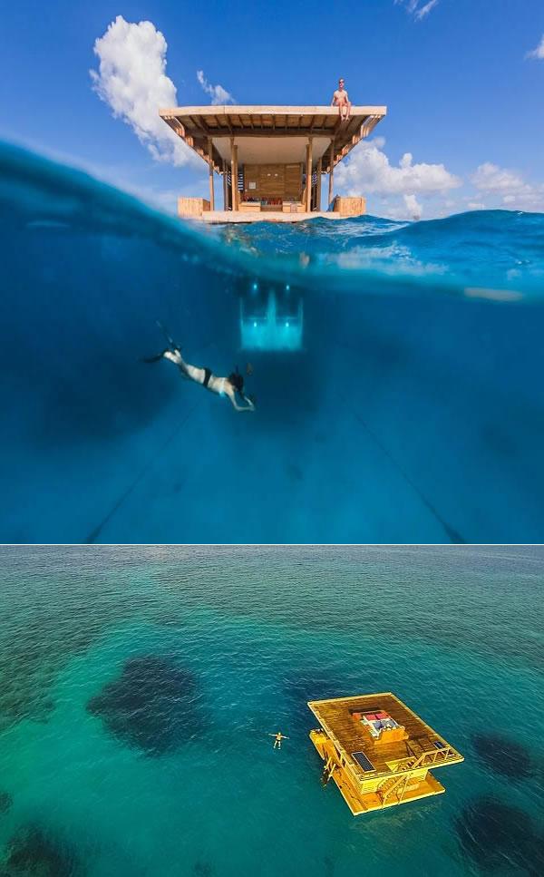 Siapa bilang Afrika cuma terdiri dari padang rumput luas, ternyata ada lho hotel tengah laut yang super keren. Namanya adalah The Manta Resort di pulau Pemba, Zanzibar, Tanzania. Buat yang suka diving, spot disini emang pas banget pulsker. Keren abis deh pokoknya.