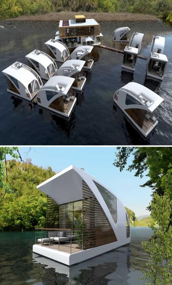 Simpel, minimalis dengan suasana alam yang nyaman adalah konsep yang ditawakan Salt & Water Floating Hotel with Catamaran Apartments. Berada di Serbia, hotel ini pernah dinobatkan sebagai pemenang dalam ajang Millennium Yacht Design Awards.