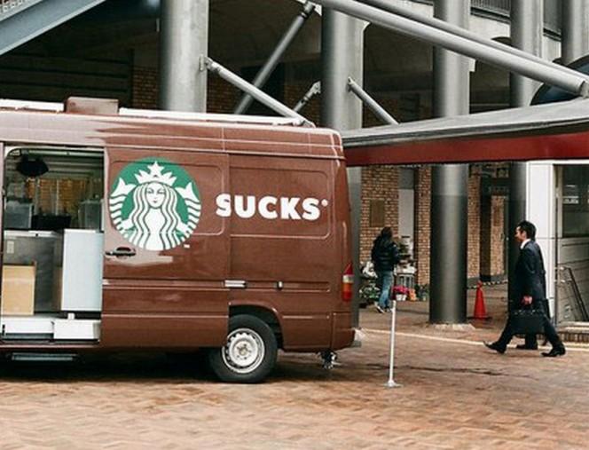 Ini vannya kedai kopi Starbucks pulsker, tapi pas dibuka jadi kayak gini. Beda jauh banget kan artinya?. Makanya jangan setengah-setengah kalau negliat.