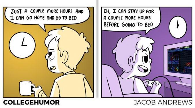 Biasanya saat bekerja atau dikelas kamu pengen banget cepet pulang kerumah lalu beristirahat. Nah giliran sampai rumah, bukannya tidur kamu malah menonton film, main game atau stalking Instagram sampai pagi.
