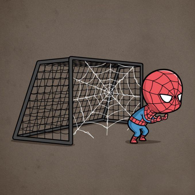 Kalau sepakbola yang jadi kipernya adalah si Spiderman dijamin pulsker, gawang nggak bakalan kebobolan. Karena dilengkapi dengan jaring pengaman.