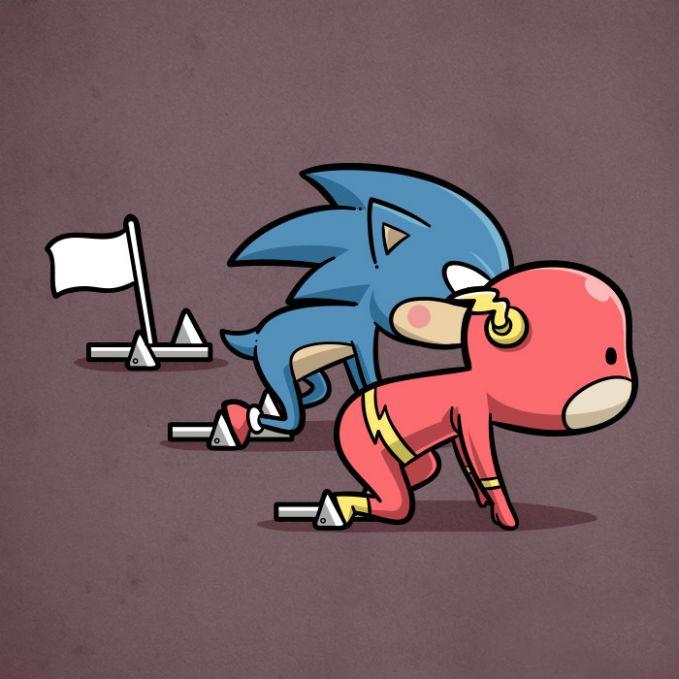 Wah, si Sonic ikutan lomba lari tuh pulsker. Dijamin deh, semua lawannya bakalan keok kalau ngelawan dia yang punya kekuatan super lari cepat.