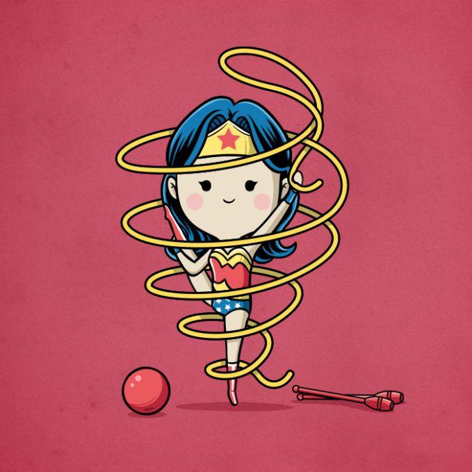 Beda lagi sama Wonder Woman pulsker. Selain aksinya yang memukau dalam membasmi kekacauan dunia, dia juga piawai dalam olahraga senam.