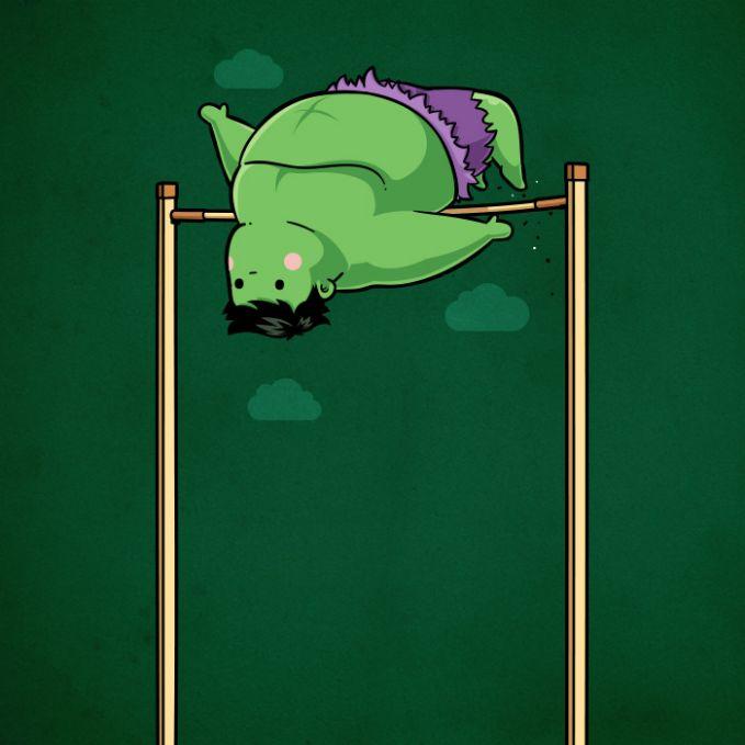 Apa bisa ya Hulk yang badannya segede itu ikutan olahraga lompat tinggi?. Kita doakan saja, apa sih yang nggak bisa sama superhero.