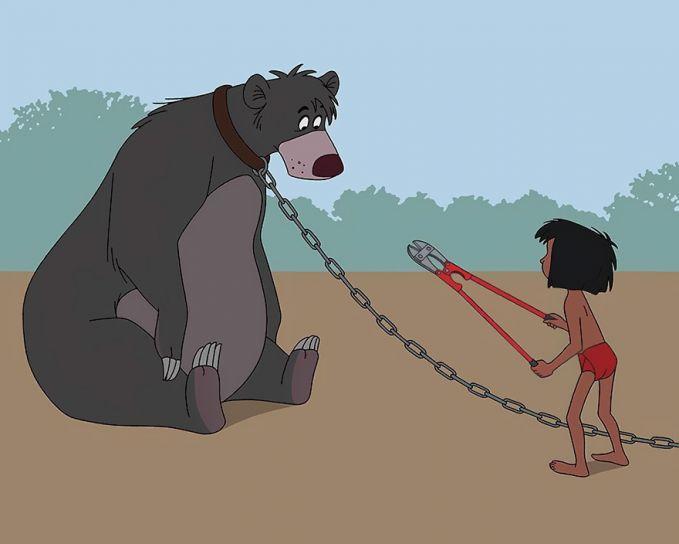Mowgly dan kawan-kawannya dulu bisa hidup bebas di hutan, sekarang mereka banyak diburu. Dan ilustrasi ini mengingatkan kita akan dampak perburuan liar.
