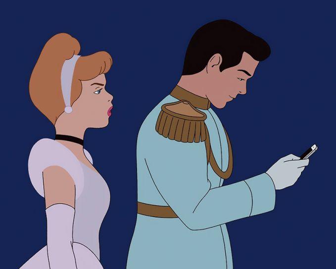 Cinderella dan Pangeran pun sempat meradang Pulsker, gara-garanya klise banget kayak pasangan sekarang. Lebih sering main gadget, bahkan saat kencan.