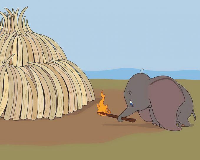 Si gajah lucu ini juga semakin terancam di alam nyata Pulsker. Lewat karikatur ini, sang seniman isu sosial tentang perburuan gajah yang diambil gadingnya demi keuntungan semata.