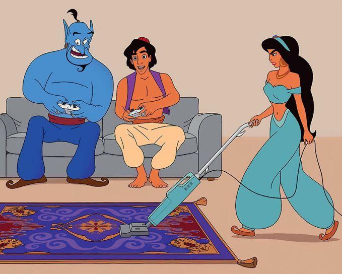 Kehidupan baru Aladin kayak gini sekarang Pulsker. Yasmin sibuk bersih-bersih rumah, eh si Aladin sibuk main PS tuh sama om jin. Ngomong-ngomong, si Abu monyet kesayangannya kemana ya kok nggak diajak?. Nah, itu dia pulsker beberapa tokoh Disney kalau seandainya mereka diciptakan di tahun 2017 ini. Beda banget kan?.