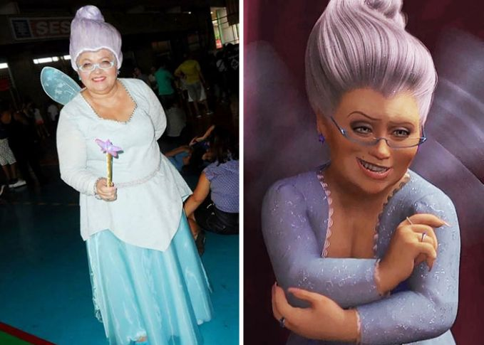 Kalau kalian pernah nonton Shrek, pasti tau sama tokoh Fairy Godmother?. Mirip nggak kalau emak Solange memerankan sosoknya?.