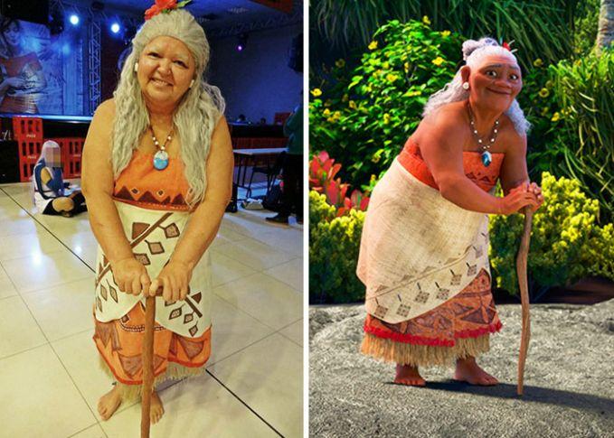 Atau jadi Gramma Tala dalam Moana nih Pulsker?. Mulai dari rambut sampai kostumnya udah mirip banget.