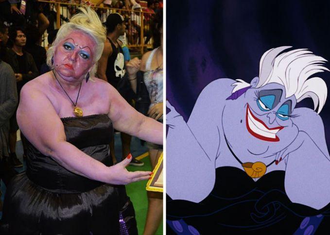 Wah, kali ini si emak tampil dengan dandanan layaknya Ursula dalam The Little Mermaid. Uh, alisnya benar-benar cetar membahana nih Pulsker.