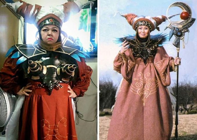 Jreng, kali ini dia berubah jadi sosok Rita Repulsa si ratu jahat musuh dari Power Ranger Pulsker.