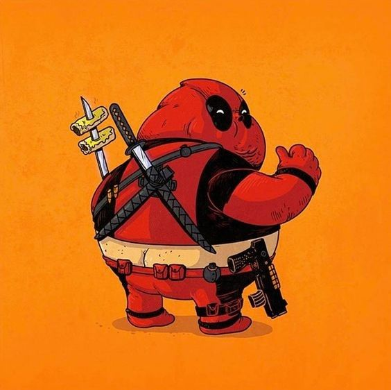 Makin kocak deh Deadpool jadinya kalo badannya buncit. TAKIS!