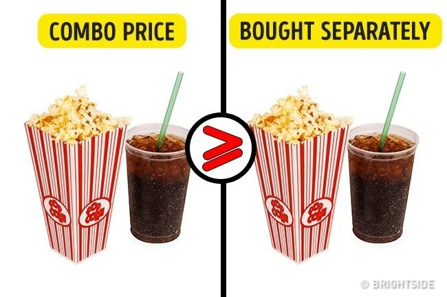 Membeli popcorn dan soda secara bersamaan tidak akan membuat harganya jauh lebih murah. Bahkan harganaya sama saja ketika kita membeli popcorn dan soda secara terpisah.