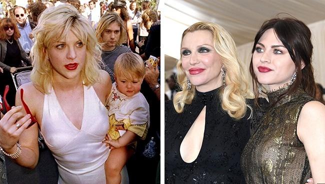 Ini adalah istri dari mendiang Curt Cobain beserta anaknya, Courtney Love dan Frances Bean Cobain. Yang kiri adalah foto ahun 1994, semenatara yang kanan adalah mereka yang sekarang.