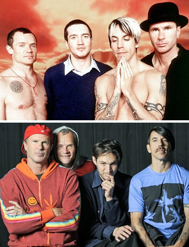 Daru dulu aksi gokil Red Hot Chili Peppers (RHCP) emang nggak ada matinya. Dari foto tahun 1999 dan 2013 ini mereka nampak masih sangar kok. Nah, itu dia Pulsker perubahan penampilan para rockstar dunia dulu vs sekarang. Mana nih musisi favorit kalian?.