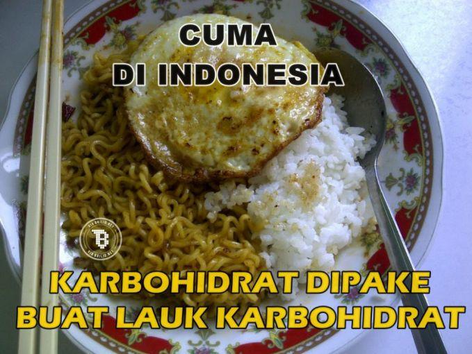 Mie instan dimakan sama nasi? Di Indonesia mah udah biasa.