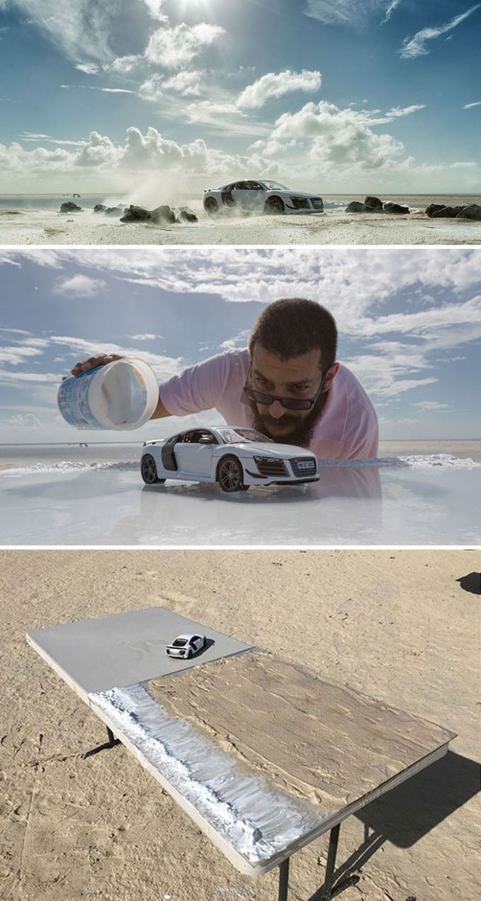 INi sih sumpah, super duper krreatif! Padahal cuma bermodal air, pasir, dan replika mobil.
