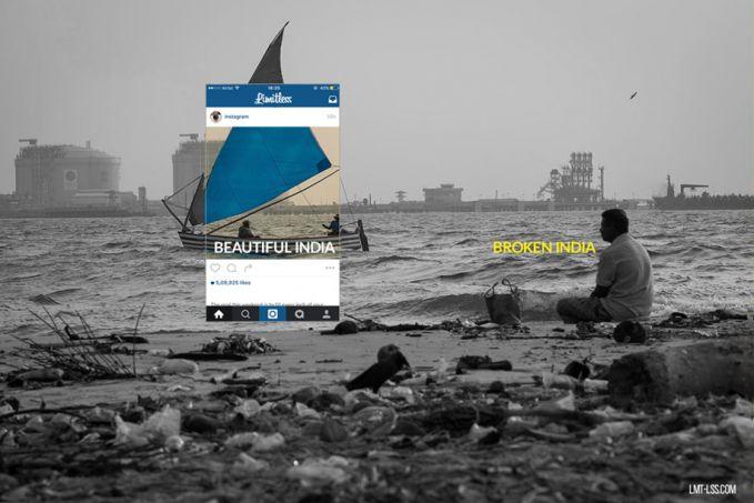 Dalam foto di instagram terlhat perahu layar seorang nelayan nampak indah banget, pantai dan lautnya terlihat bersih. Padahal kondisi sebenarnya pantai tersebut sangatlah kotor dan tercemar.