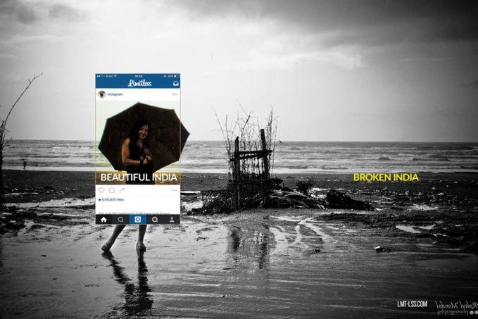 Sama juga seperti foto yang satu ini. Sang model yang membawa payung seolah ingin menggambarkan kalau pantai yang jadi tempatnya berfoto instagramable. Eh, ternyata kondisi aslinya justru kotor dan dipenuhi banyak sampah.