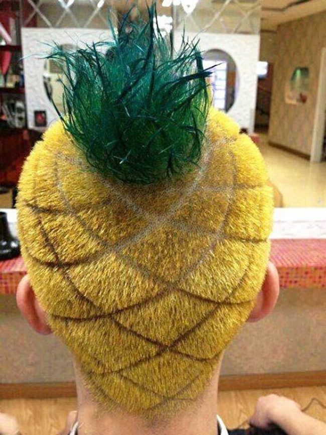 Duh, ini apalagi coba malah mirip nanas rambutnya.