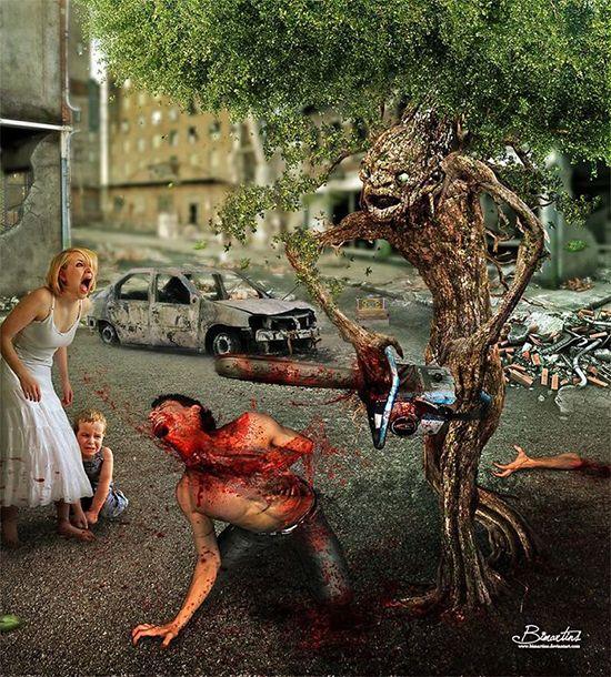 Kok serem ya, manusia ditebang sembarangan sama pohon didepan anak istrinya, ga jauh beda sama yang biasa dilakuin manusia.