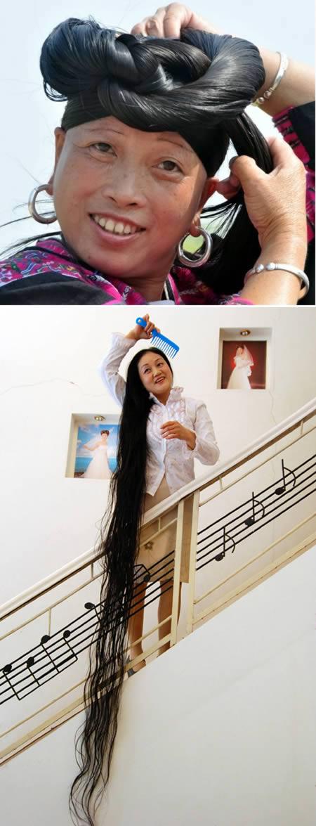 Di Cina ada Dai Yue Qin atau yang lebih dikenal dengan Miss Dyq. Lahir tahun 1964 silam di Tong Xiang, Zhejiang, Cina Selatan perempuan ini mulai memanjangkan rambut sejak usia 14 tahun. Tercatat panjangn rambutnya mencapai 3.30 meter Pulsker.