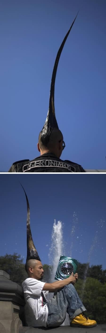 Kenalin nih anak punk yang beda dari yang lain. Pria bernama Kazuhiro Watanabe ini butuh waktu 15 tahun buat manjangin rambut sepanjang hampir satu meter menjulang ke atas. Namanya pun pernah tercatat dalam Guinness World Record.