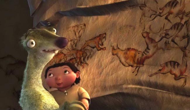 Sekilas lukisan dalam kartun Ice Age ini biasa, ternyata ilustrasi tersebut digambar menyeruapai sebuah gambar di goa yang berusia 15000 tahun. WOW!
