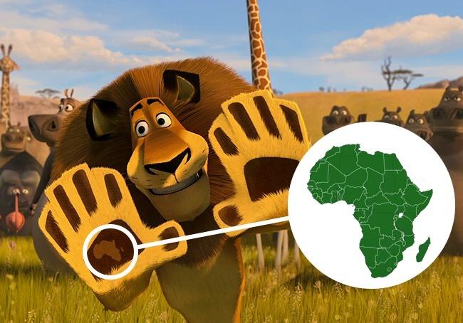 Pada kfilm kartun Madagascar:Escape 2 Africa, saat Alex menyapa penghuni Afrika terlihat di telapak tangannya Peta dari Madagascar.