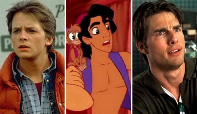 Salah satu ekspresi khas Aladdin di film Aladdin mirip dengan ekspresi Tom Cruise maupun Michael J.Fox dari film Back to the Future.