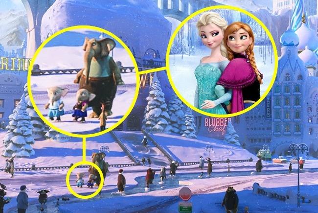 Terlihat dua ekor anak gajah di sebuah halaman dalam Film Zootopia berpakaian seperti Elsa dan Anna dari film Frozen.
