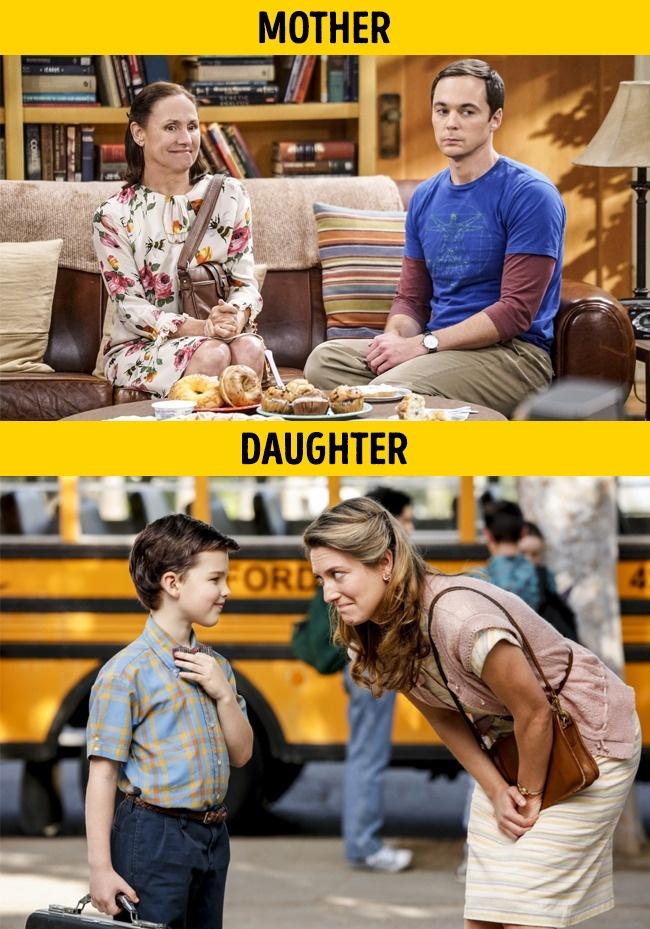 Laurie Metcalf dan Zoe Perry Dalam dua film berbeda. Yaitu The Bigbang Theory dan Young Sheldon. Mereka berperan sebagai ibu dan anak sama seperti di dunia nyata.