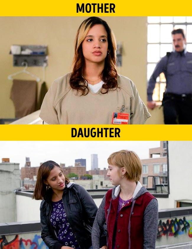 Lagi-lagi ibu dan anak beneran. Kali ini pada film Orange is the New Black yang diperankan oleh Dascha Polanco dan Dasany Kristal Gonzalez.