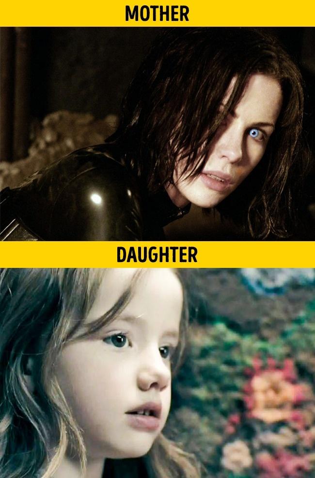 Kate Beckinsale dan Lily Mo Shen pada film Underworld Evolution di tahun 2006. Mereka memerankan peran Ibu dan anak.