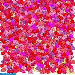 Bisakah kamu menemukan BENTUK HATI di gambar Siput ini ?