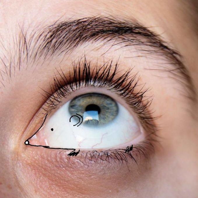 Bagian kelopak mata dan alis dapat dijadikan doodle seekor landak yang lucu.